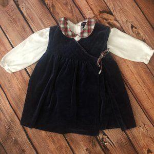 RALPH LAUREN NAVY VELVET PLAID WRAP DRESS 18M